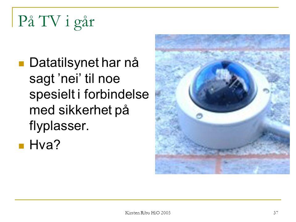 Kirsten Ribu HiO 2005 37 På TV i går Datatilsynet har nå sagt 'nei' til noe spesielt i forbindelse med sikkerhet på flyplasser. Hva?