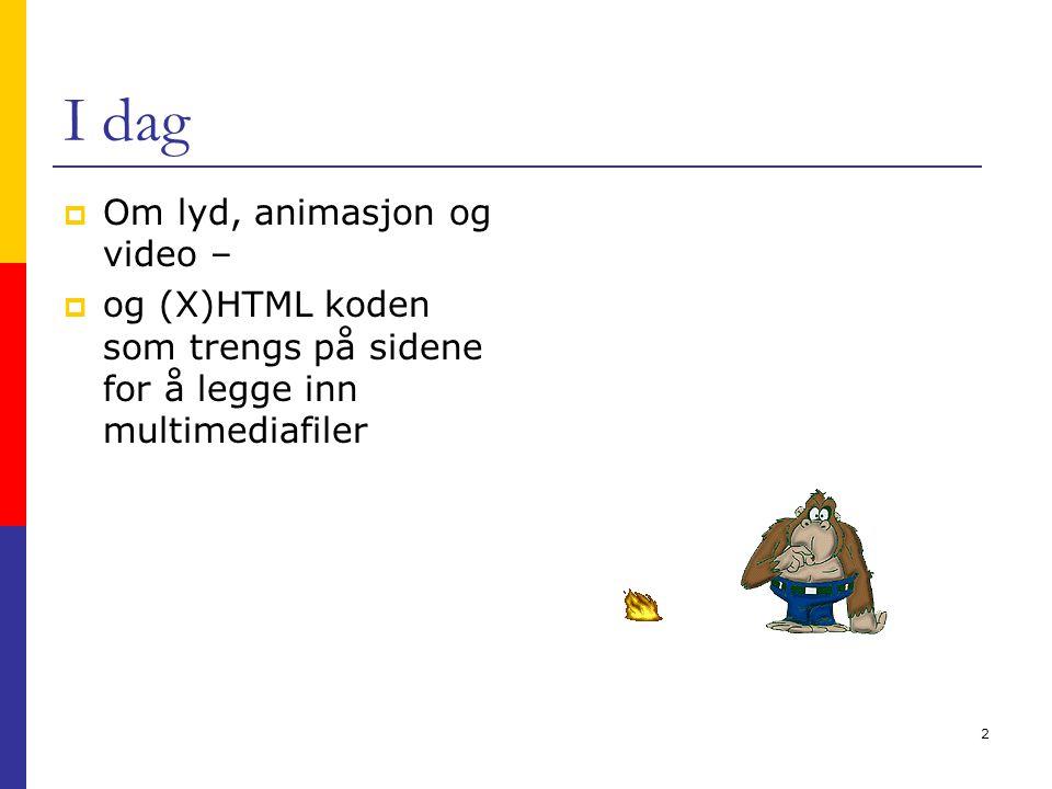 2 I dag  Om lyd, animasjon og video –  og (X)HTML koden som trengs på sidene for å legge inn multimediafiler