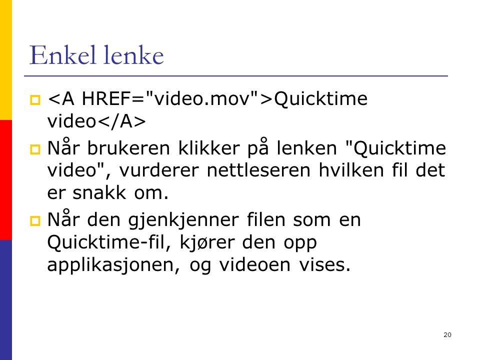 20 Enkel lenke  Quicktime video  Når brukeren klikker på lenken Quicktime video , vurderer nettleseren hvilken fil det er snakk om.