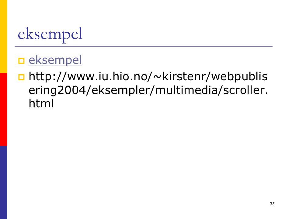 35 eksempel  eksempel eksempel  http://www.iu.hio.no/~kirstenr/webpublis ering2004/eksempler/multimedia/scroller. html