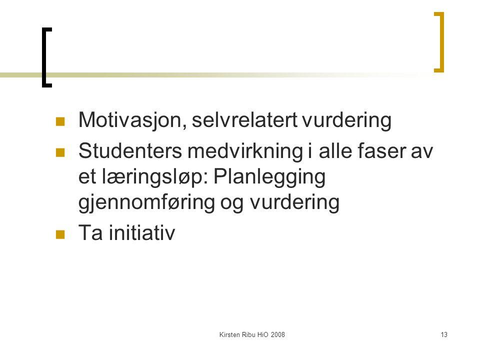 Kirsten Ribu HiO 200813 Motivasjon, selvrelatert vurdering Studenters medvirkning i alle faser av et læringsløp: Planlegging gjennomføring og vurdering Ta initiativ