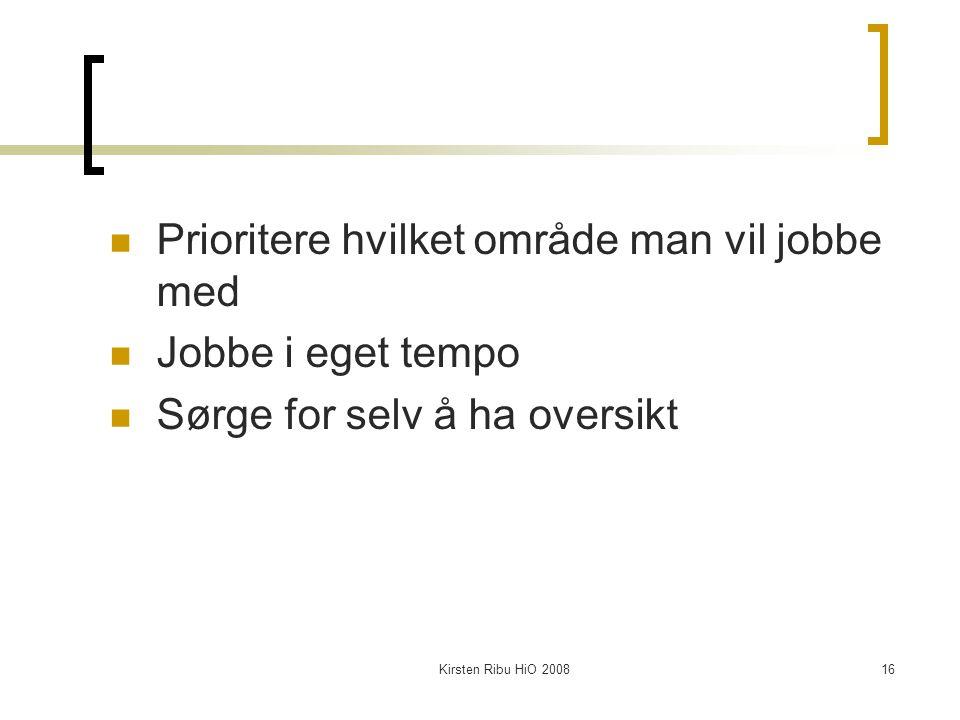 Kirsten Ribu HiO 200816 Prioritere hvilket område man vil jobbe med Jobbe i eget tempo Sørge for selv å ha oversikt