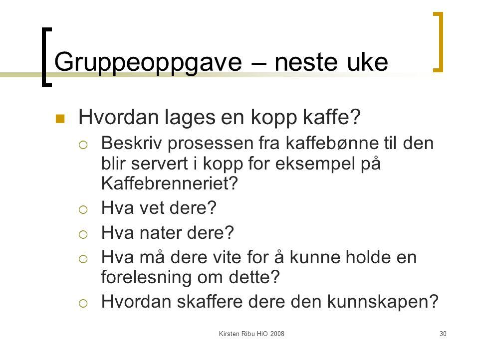 Kirsten Ribu HiO 200830 Gruppeoppgave – neste uke Hvordan lages en kopp kaffe.