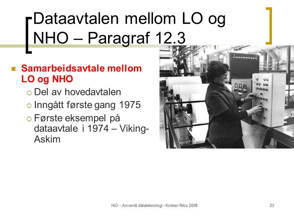 HiO - Anvendt datateknologi - Kirsten Ribu 200823 Dataavtalen mellom LO og NHO – Paragraf 12.3 Samarbeidsavtale mellom LO og NHO  Del av hovedavtalen
