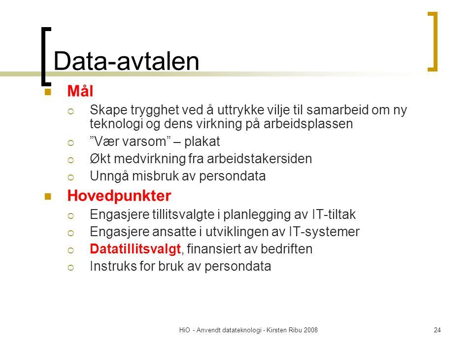 HiO - Anvendt datateknologi - Kirsten Ribu 200824 Data-avtalen Mål  Skape trygghet ved å uttrykke vilje til samarbeid om ny teknologi og dens virknin