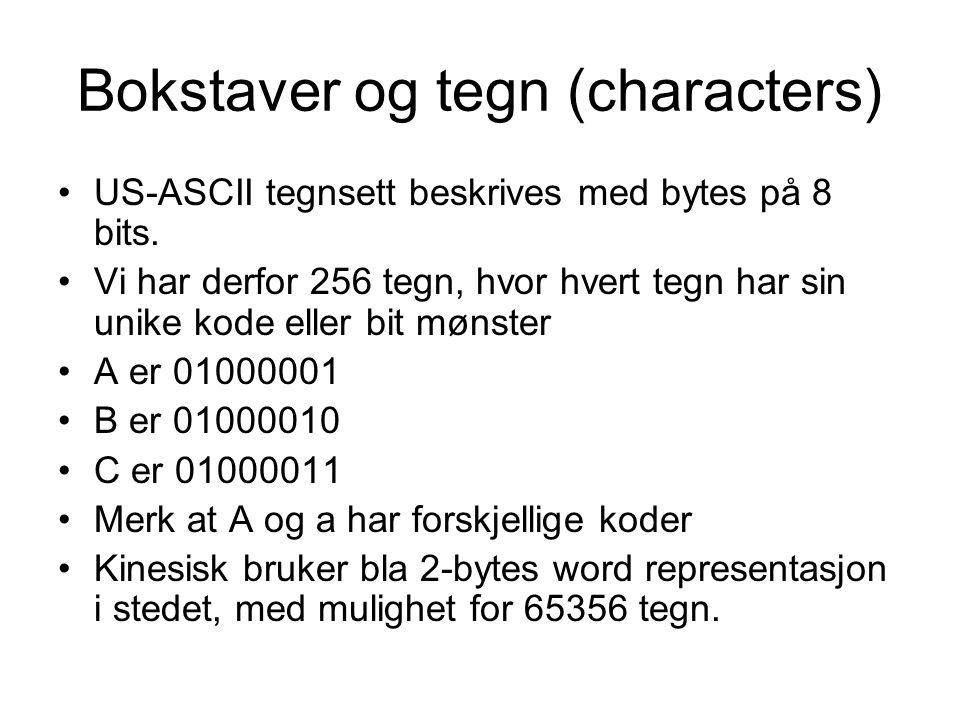 Bokstaver og tegn (characters) US-ASCII tegnsett beskrives med bytes på 8 bits.