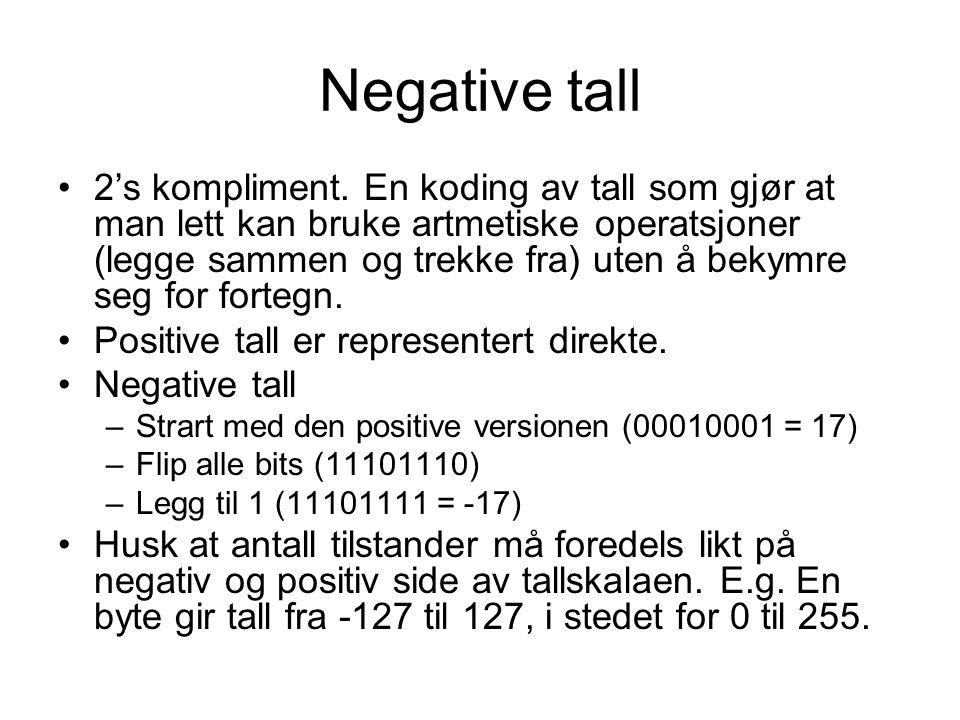 Negative tall 2's kompliment.