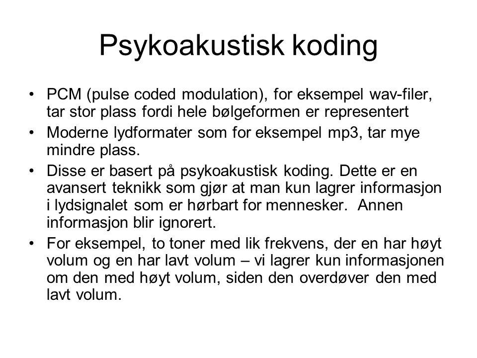 Psykoakustisk koding PCM (pulse coded modulation), for eksempel wav-filer, tar stor plass fordi hele bølgeformen er representert Moderne lydformater som for eksempel mp3, tar mye mindre plass.