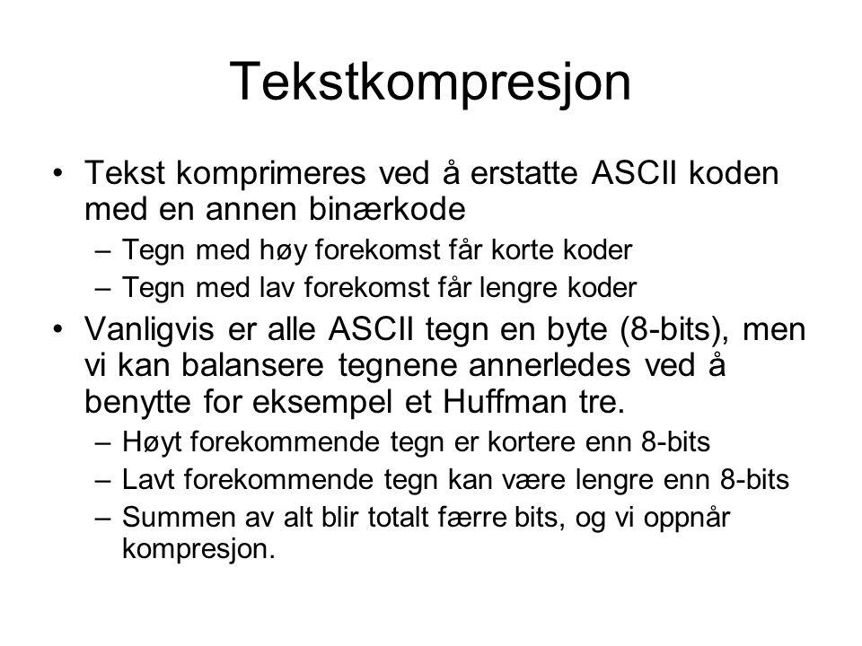 Tekstkompresjon Tekst komprimeres ved å erstatte ASCII koden med en annen binærkode –Tegn med høy forekomst får korte koder –Tegn med lav forekomst får lengre koder Vanligvis er alle ASCII tegn en byte (8-bits), men vi kan balansere tegnene annerledes ved å benytte for eksempel et Huffman tre.