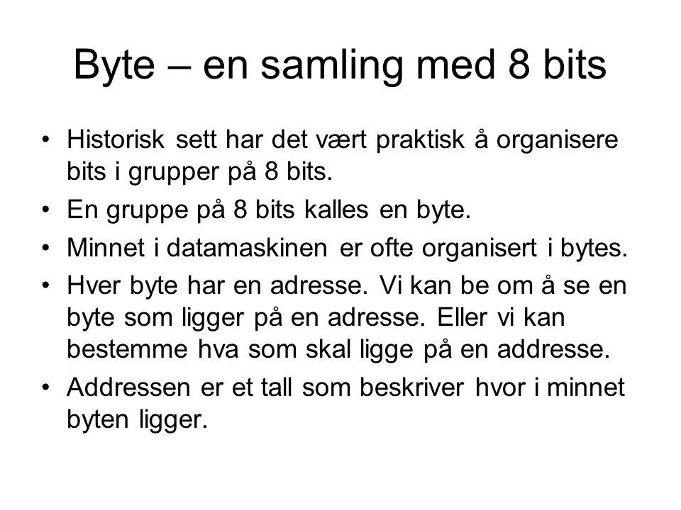 Byte – en samling med 8 bits Historisk sett har det vært praktisk å organisere bits i grupper på 8 bits.