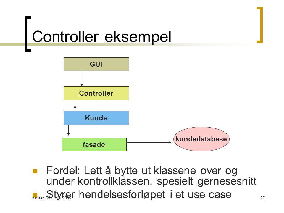 Kirsten Ribu HiO 200527 Controller eksempel Fordel: Lett å bytte ut klassene over og under kontrollklassen, spesielt gernesesnitt Styrer hendelsesforløpet i et use case GUI Controller Kunde fasade kundedatabase
