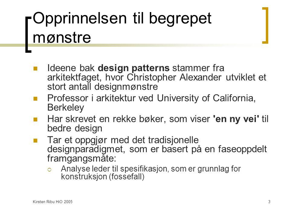 Kirsten Ribu HiO 20054 Klasser og objekter I UML er klasser og objekter illustrert på samme grafiske måte, men navnet er understreket i objektene.