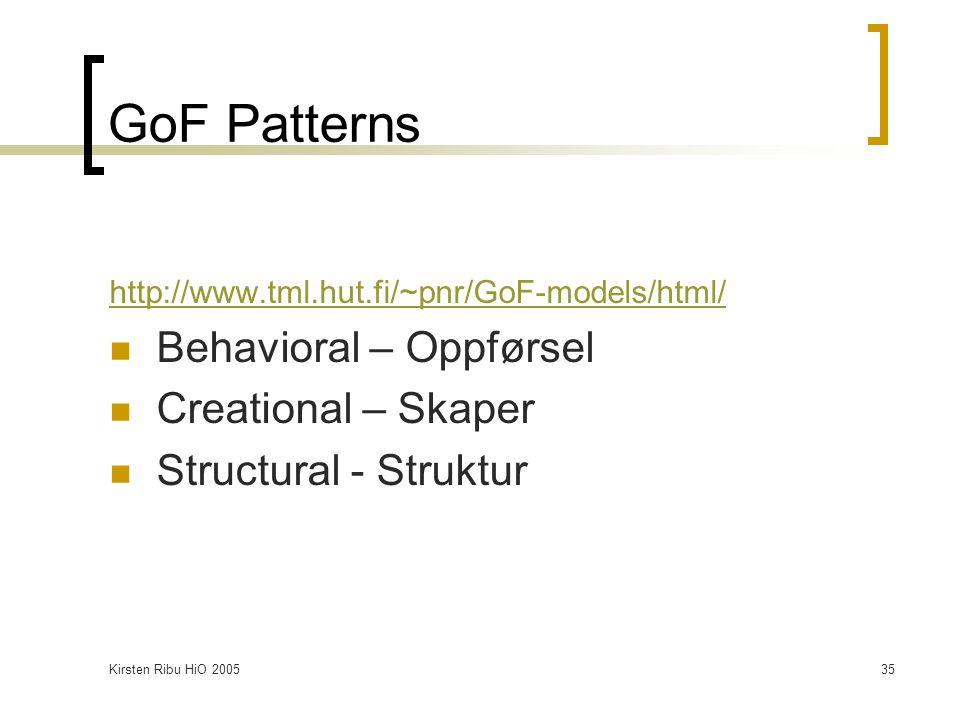 Kirsten Ribu HiO 200535 GoF Patterns http://www.tml.hut.fi/~pnr/GoF-models/html/ Behavioral – Oppførsel Creational – Skaper Structural - Struktur
