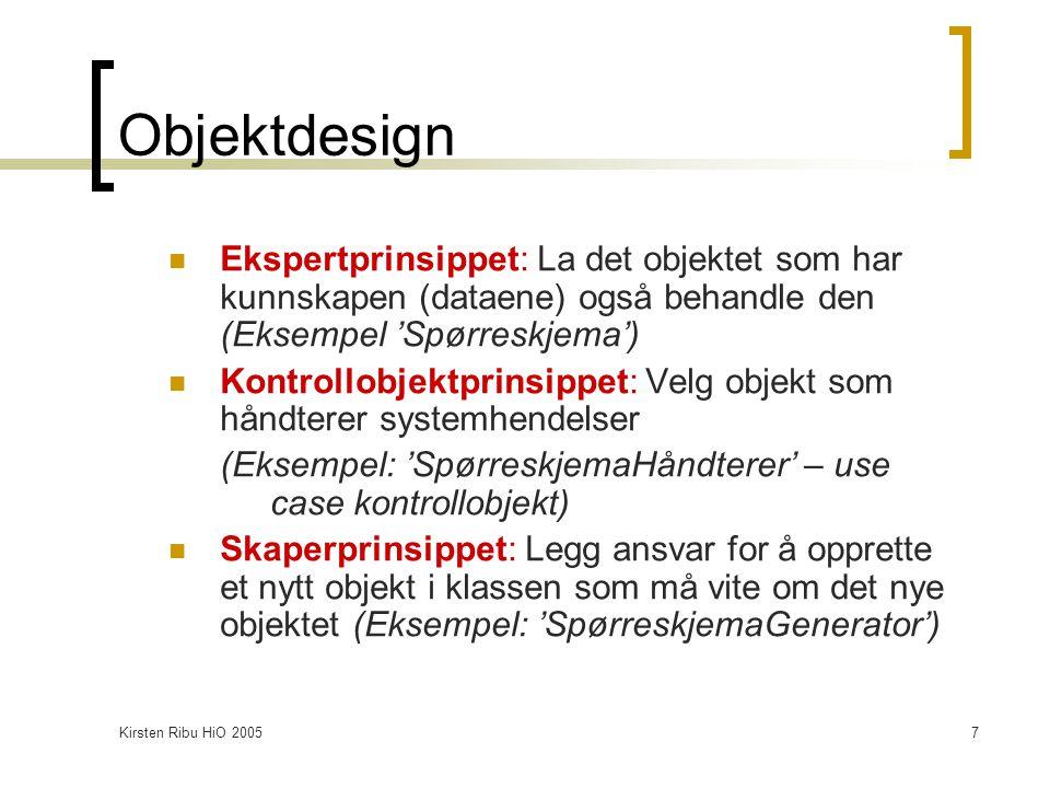 Kirsten Ribu HiO 200518 Problem/løsning - par Kritiske designspørsmål:  Hvordan allokere ansvar til klasser.