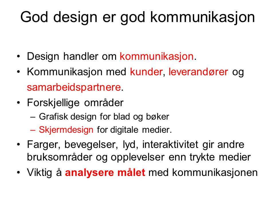 God design er god kommunikasjon Design handler om kommunikasjon. Kommunikasjon med kunder, leverandører og samarbeidspartnere. Forskjellige områder –G