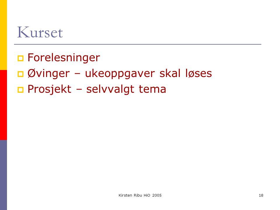 Kirsten Ribu HiO 200518 Kurset  Forelesninger  Øvinger – ukeoppgaver skal løses  Prosjekt – selvvalgt tema