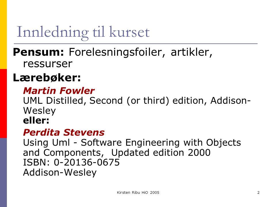 Kirsten Ribu HiO 200513 Designmodell Klasse Aggregering Assosiasjon Navigering