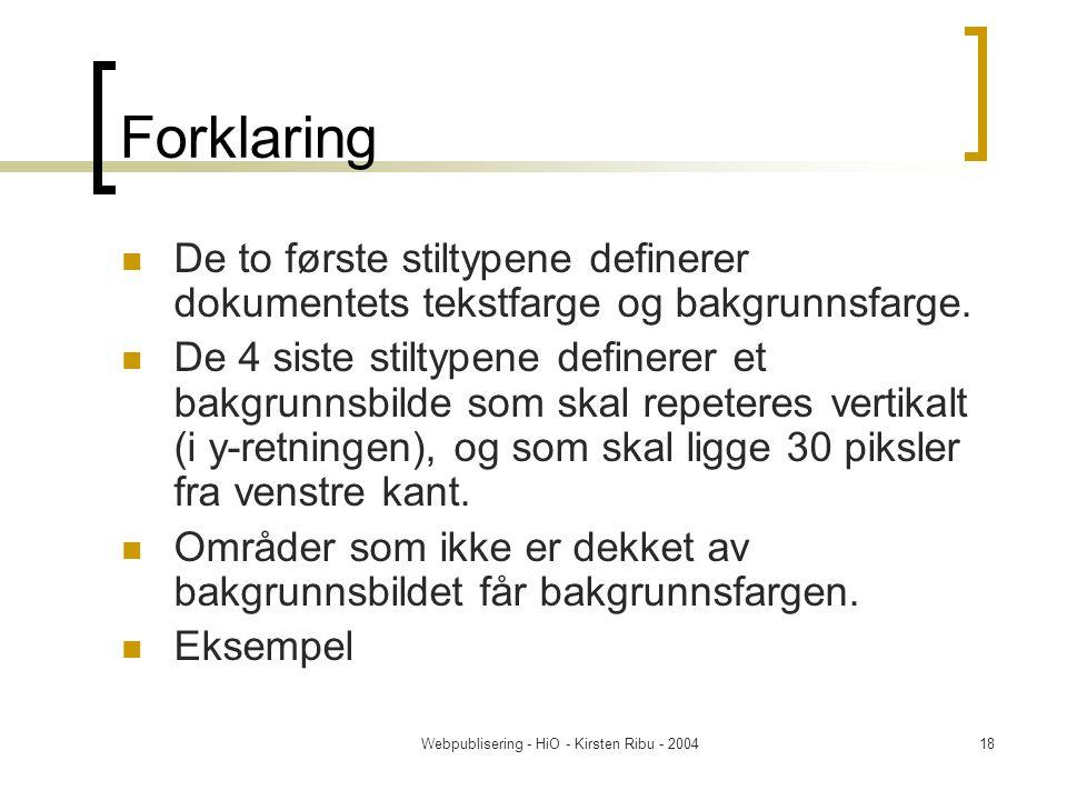 Webpublisering - HiO - Kirsten Ribu - 200418 Forklaring De to første stiltypene definerer dokumentets tekstfarge og bakgrunnsfarge.