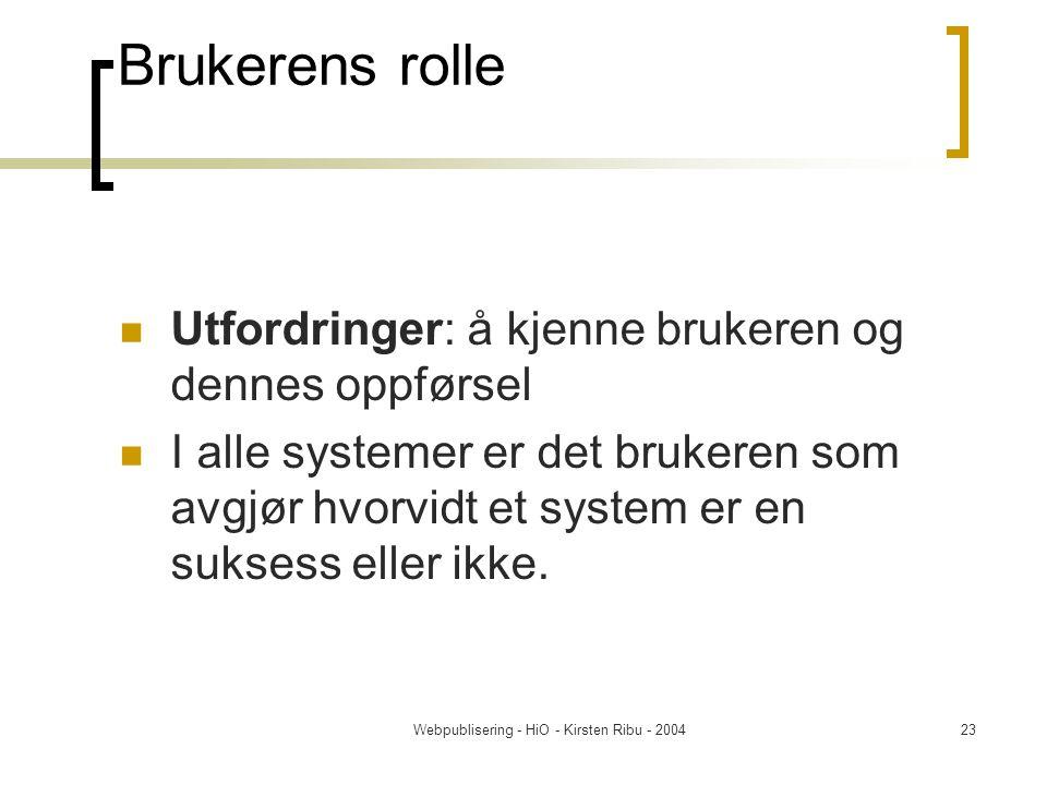 Webpublisering - HiO - Kirsten Ribu - 200423 Brukerens rolle Utfordringer: å kjenne brukeren og dennes oppførsel I alle systemer er det brukeren som avgjør hvorvidt et system er en suksess eller ikke.