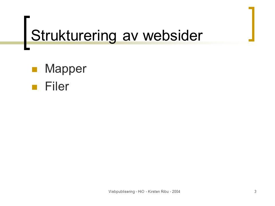 Webpublisering - HiO - Kirsten Ribu - 20044 Organisering av filene Lag mapper for ulike elementer: feks 'HTML' – der legger du alle html – filene Legg bilder i en mappe (kall den for eksempel 'bilder') Link til bildet blir således /bilder/bilde_av_meg.jpg sti: mappe/fil