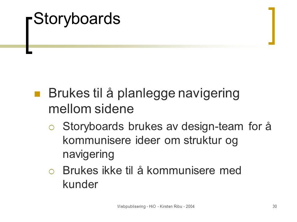 Webpublisering - HiO - Kirsten Ribu - 200430 Storyboards Brukes til å planlegge navigering mellom sidene  Storyboards brukes av design-team for å kommunisere ideer om struktur og navigering  Brukes ikke til å kommunisere med kunder