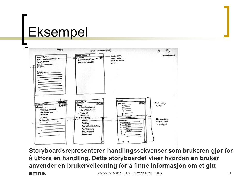 Webpublisering - HiO - Kirsten Ribu - 200431 Eksempel Storyboardsrepresenterer handlingssekvenser som brukeren gjør for å utføre en handling.