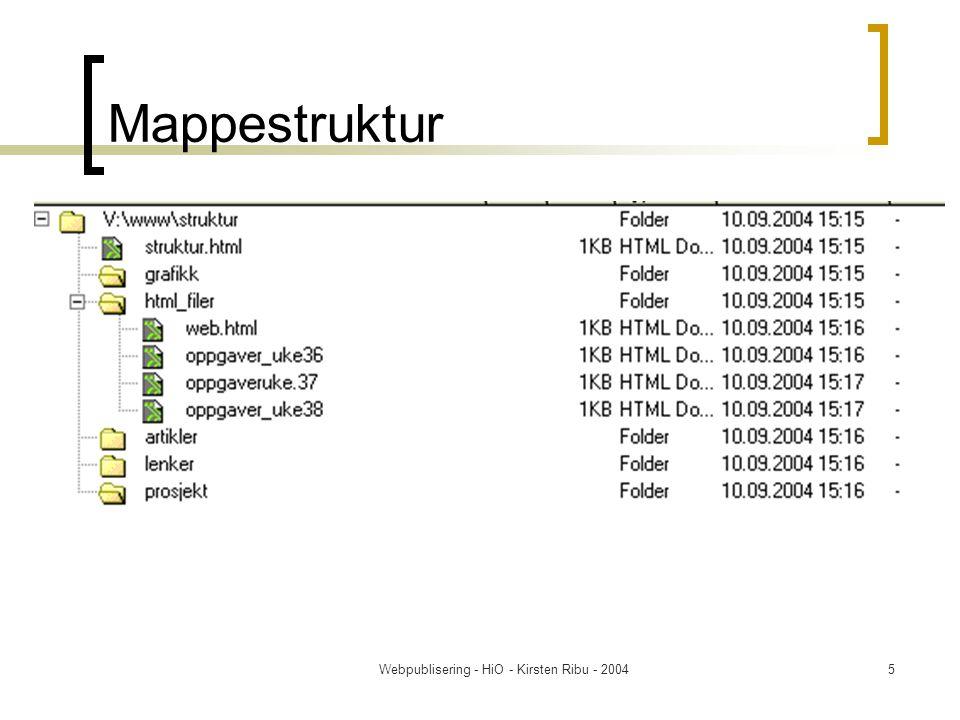 Webpublisering - HiO - Kirsten Ribu - 20045 Mappestruktur