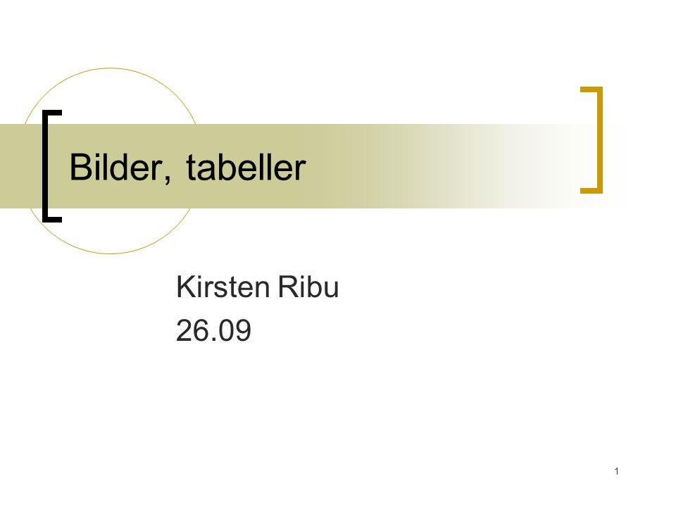 1 Bilder, tabeller Kirsten Ribu 26.09