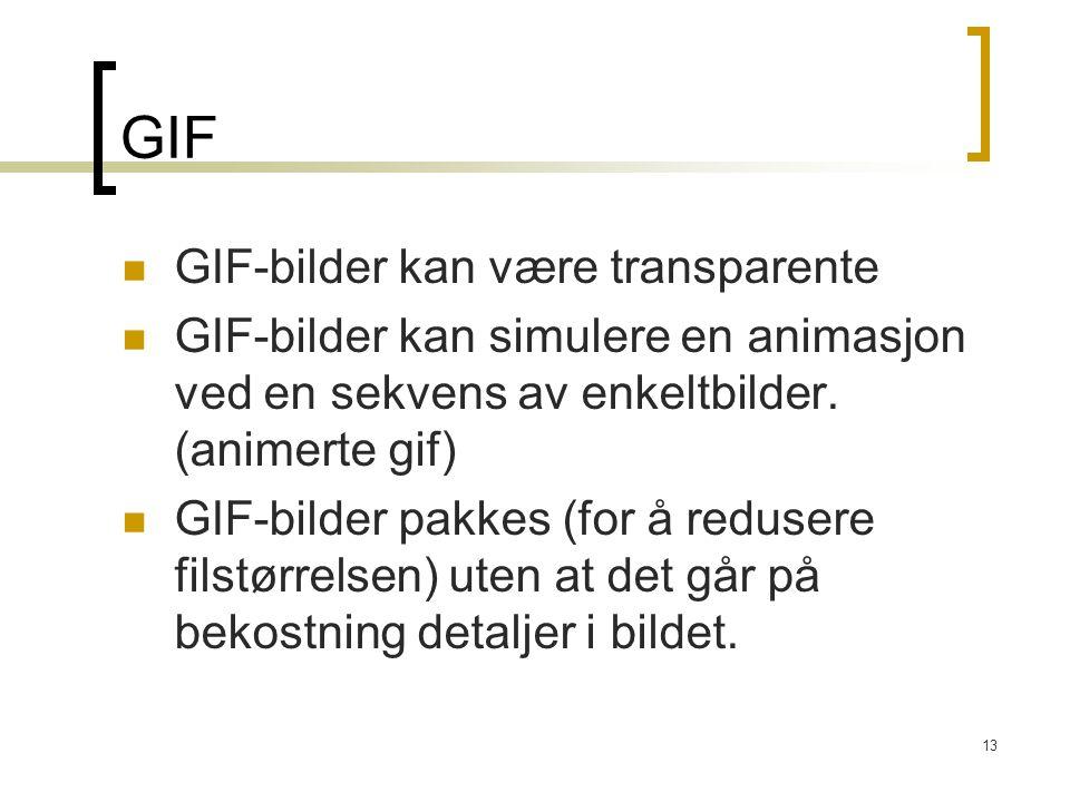 13 GIF GIF-bilder kan være transparente GIF-bilder kan simulere en animasjon ved en sekvens av enkeltbilder. (animerte gif) GIF-bilder pakkes (for å r