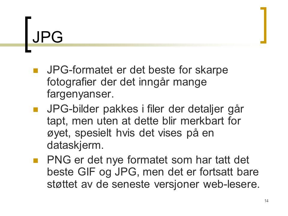 14 JPG JPG-formatet er det beste for skarpe fotografier der det inngår mange fargenyanser. JPG-bilder pakkes i filer der detaljer går tapt, men uten a