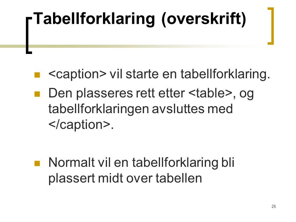 26 Tabellforklaring (overskrift) vil starte en tabellforklaring. Den plasseres rett etter, og tabellforklaringen avsluttes med. Normalt vil en tabellf