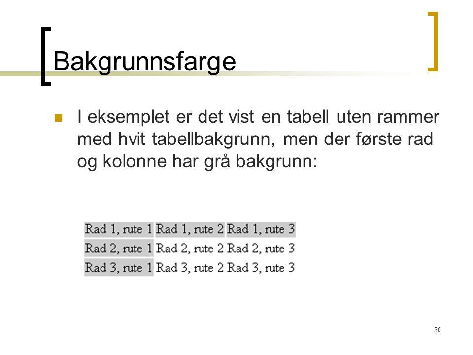 30 Bakgrunnsfarge I eksemplet er det vist en tabell uten rammer med hvit tabellbakgrunn, men der første rad og kolonne har grå bakgrunn: