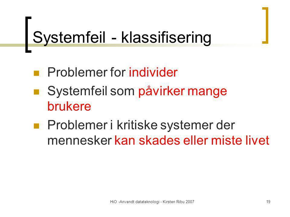 HiO -Anvendt datateknologi - Kirsten Ribu 200719 Systemfeil - klassifisering Problemer for individer Systemfeil som påvirker mange brukere Problemer i