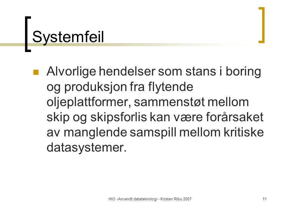 HiO -Anvendt datateknologi - Kirsten Ribu 200711 Systemfeil Alvorlige hendelser som stans i boring og produksjon fra flytende oljeplattformer, sammenstøt mellom skip og skipsforlis kan være forårsaket av manglende samspill mellom kritiske datasystemer.