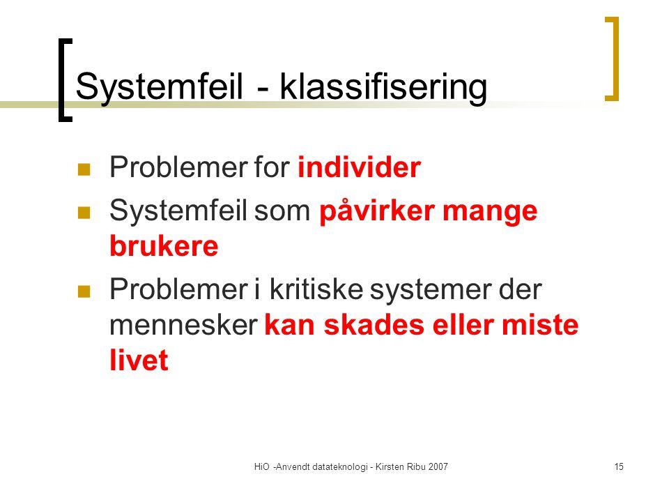 HiO -Anvendt datateknologi - Kirsten Ribu 200715 Systemfeil - klassifisering Problemer for individer Systemfeil som påvirker mange brukere Problemer i kritiske systemer der mennesker kan skades eller miste livet