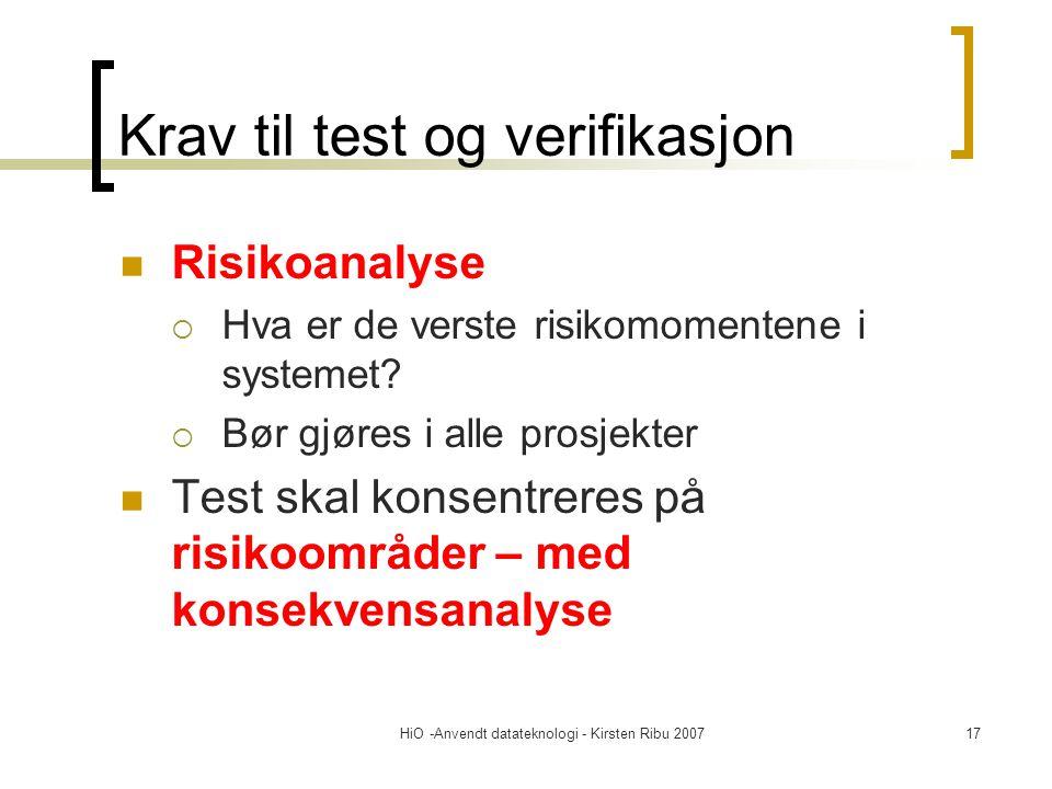 HiO -Anvendt datateknologi - Kirsten Ribu 200717 Krav til test og verifikasjon Risikoanalyse  Hva er de verste risikomomentene i systemet.