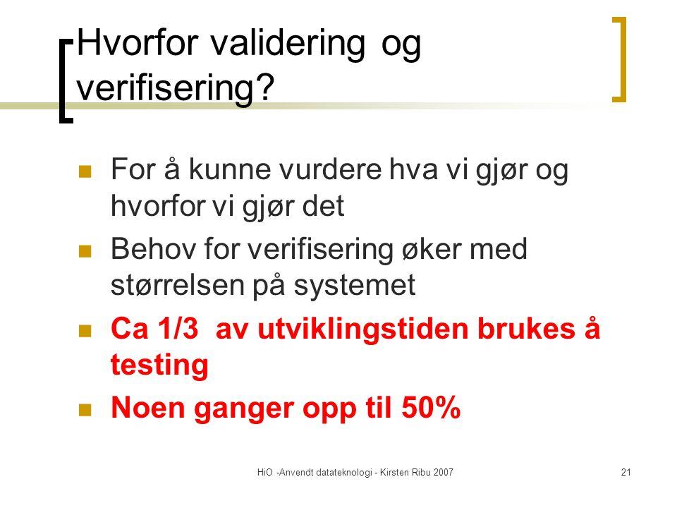 HiO -Anvendt datateknologi - Kirsten Ribu 200721 Hvorfor validering og verifisering? For å kunne vurdere hva vi gjør og hvorfor vi gjør det Behov for