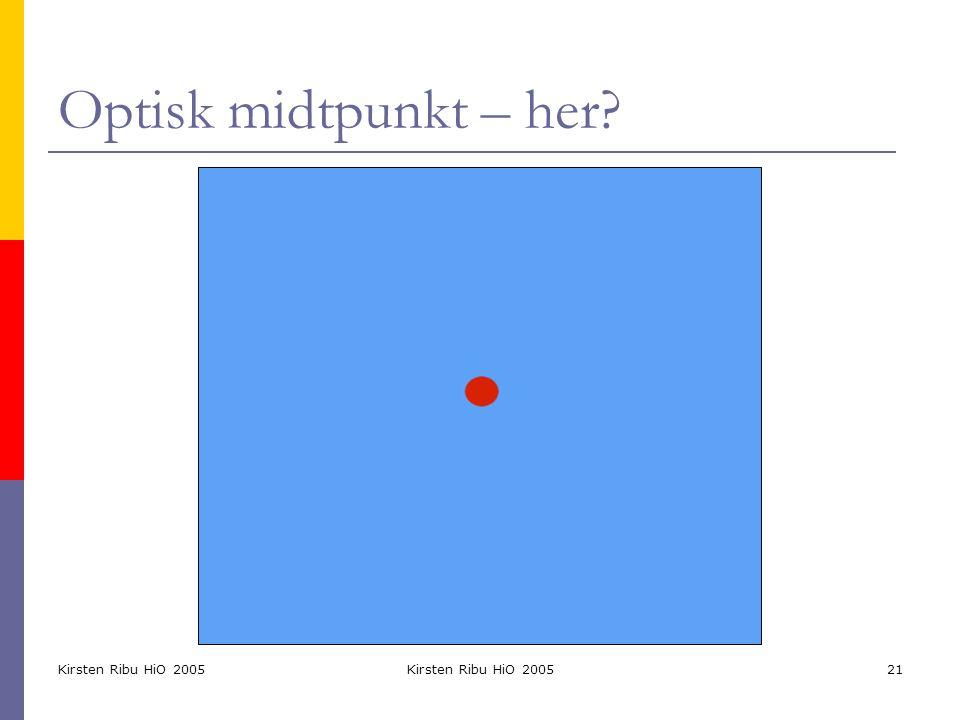 Kirsten Ribu HiO 2005 21 Optisk midtpunkt – her?