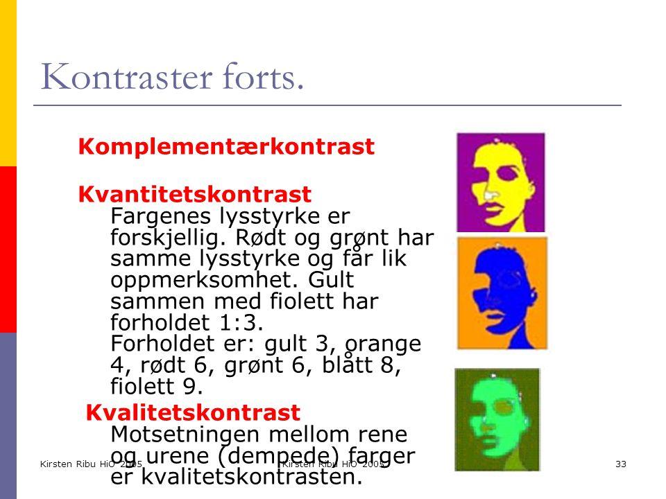 Kirsten Ribu HiO 2005 33 Kontraster forts. Komplementærkontrast Kvantitetskontrast Fargenes lysstyrke er forskjellig. Rødt og grønt har samme lysstyrk