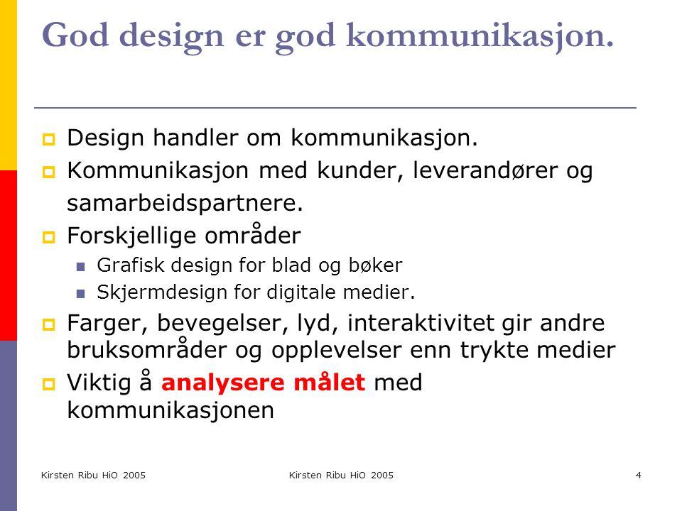 Kirsten Ribu HiO 2005 5 Bevisst design  Grafisk design kan ikke skilles fra design av brukergrensesnittet  Form og innhold hører sammen  Bruk tekst og bilder for å understreke innholdet  Bruk logoer, merkevare bevisst