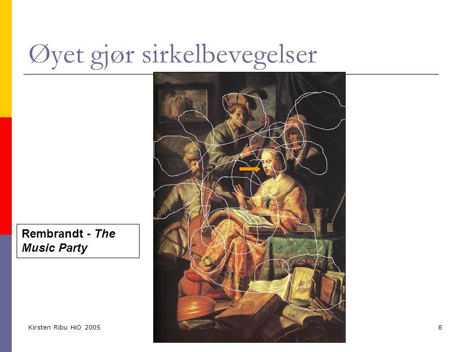 Kirsten Ribu HiO 2005 9 Grafisk design = Visuell informasjon  Layout, typografi og illustrasjon brukes til å føre øyet over websiden  Først ser man form og farge og forgrunn mot bakgrunn (kontrast)  Dernest litt informasjon (grafikk dersom det er til stede)  Til slutt ser man detaljene i teksten