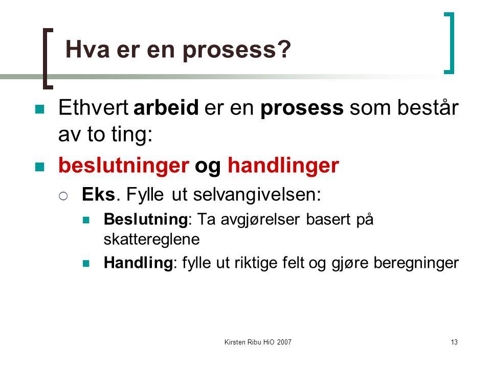 Kirsten Ribu HiO 200713 Hva er en prosess? Ethvert arbeid er en prosess som består av to ting: beslutninger og handlinger  Eks. Fylle ut selvangivels