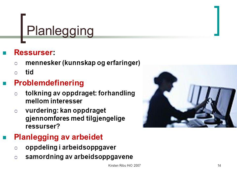 Kirsten Ribu HiO 200714 Planlegging Ressurser:  mennesker (kunnskap og erfaringer)  tid Problemdefinering  tolkning av oppdraget: forhandling mello