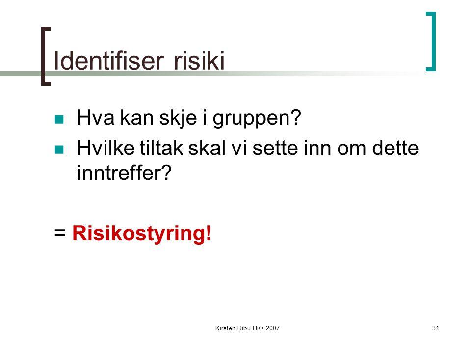 Kirsten Ribu HiO 200731 Identifiser risiki Hva kan skje i gruppen? Hvilke tiltak skal vi sette inn om dette inntreffer? = Risikostyring!