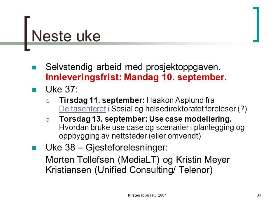 Kirsten Ribu HiO 200734 Neste uke Selvstendig arbeid med prosjektoppgaven. Innleveringsfrist: Mandag 10. september. Uke 37:  Tirsdag 11. september: H