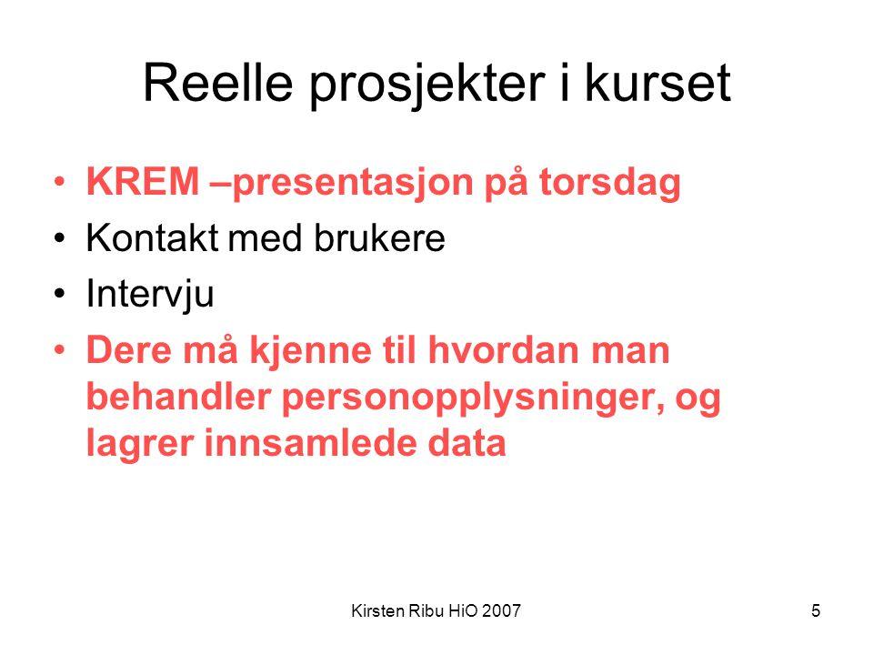 Kirsten Ribu HiO 20076 Arbeidsformer Prosjektarbeid –Arbeid i gruppe, under press Undersøkelser –Undersøkelse i bedrift/organisasjon (feltarbeid) Presentasjon – skriftlig og muntlig.