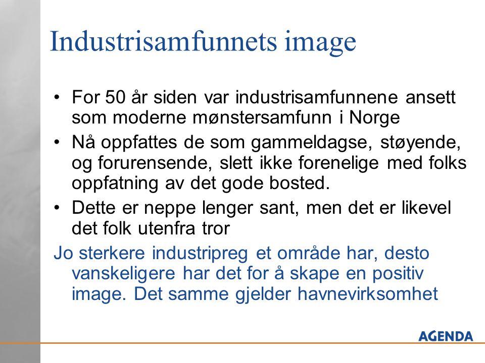 Industrisamfunnets image For 50 år siden var industrisamfunnene ansett som moderne mønstersamfunn i Norge Nå oppfattes de som gammeldagse, støyende, og forurensende, slett ikke forenelige med folks oppfatning av det gode bosted.