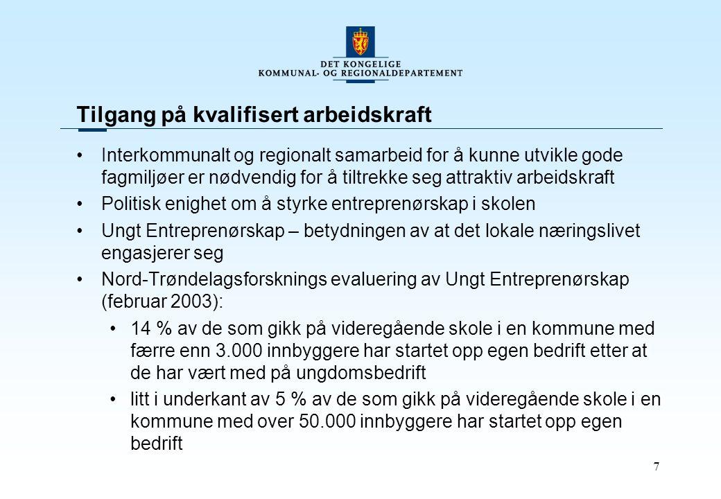 7 Tilgang på kvalifisert arbeidskraft Interkommunalt og regionalt samarbeid for å kunne utvikle gode fagmiljøer er nødvendig for å tiltrekke seg attraktiv arbeidskraft Politisk enighet om å styrke entreprenørskap i skolen Ungt Entreprenørskap – betydningen av at det lokale næringslivet engasjerer seg Nord-Trøndelagsforsknings evaluering av Ungt Entreprenørskap (februar 2003): 14 % av de som gikk på videregående skole i en kommune med færre enn 3.000 innbyggere har startet opp egen bedrift etter at de har vært med på ungdomsbedrift litt i underkant av 5 % av de som gikk på videregående skole i en kommune med over 50.000 innbyggere har startet opp egen bedrift