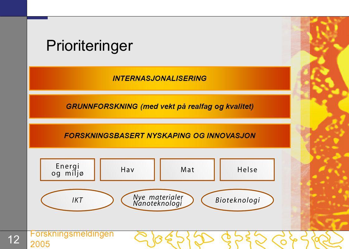 12 Forskningsmeldingen 2005 Prioriteringer INTERNASJONALISERING GRUNNFORSKNING (med vekt på realfag og kvalitet) FORSKNINGSBASERT NYSKAPING OG INNOVAS