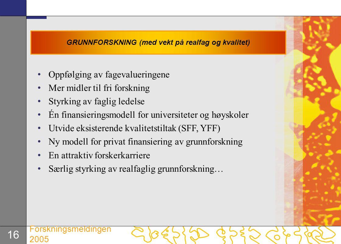 16 Forskningsmeldingen 2005 Oppfølging av fagevalueringene Mer midler til fri forskning Styrking av faglig ledelse Én finansieringsmodell for universi